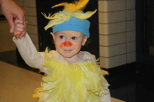 "Noah, 15 months, as a bird for Halloween. ""Bird"" was one of his first words."